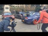Burn-out and shots Nissan Skyline GTR
