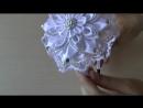 Белый цветок ободок канзаши Мастер класс канзаши из лент DIY hair band kanzashi