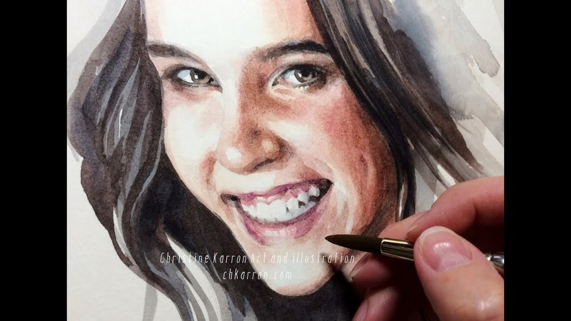 Smiling Girl with Dark Hair 1h Watercolor portrait painting demo by Ch.Karron