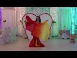 Восточный танец с огненными веерами вейлами. Show bellydance Marina Timachkova