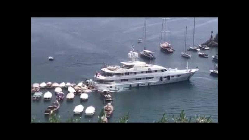 Watch tense moment bungling £13m British super yacht ploughs into boats after 'gear malfunction'