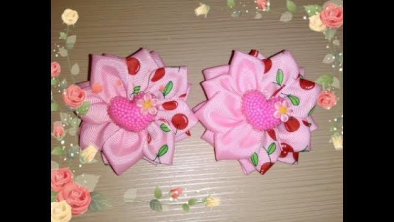 Бантики Вишенки из репсовых лент 2,5 см МК Канзаши /Bows Cherry of REP ribbons 2.5 cm