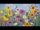 Wildflowers Acrylic Painting Tutorial LIVE Beginner Step by Step Flowers