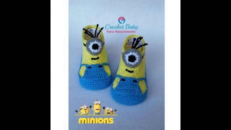 Botinha do MINIONS de crochê - Tamanho 09 cm - Crochet Baby Yara Nascimento PARTE 01