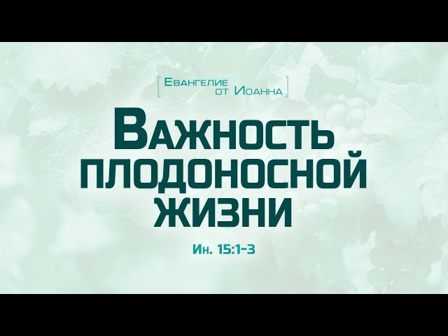 Ев. от Иоанна 83. Важность плодоносной жизни (Алексей Коломийцев)