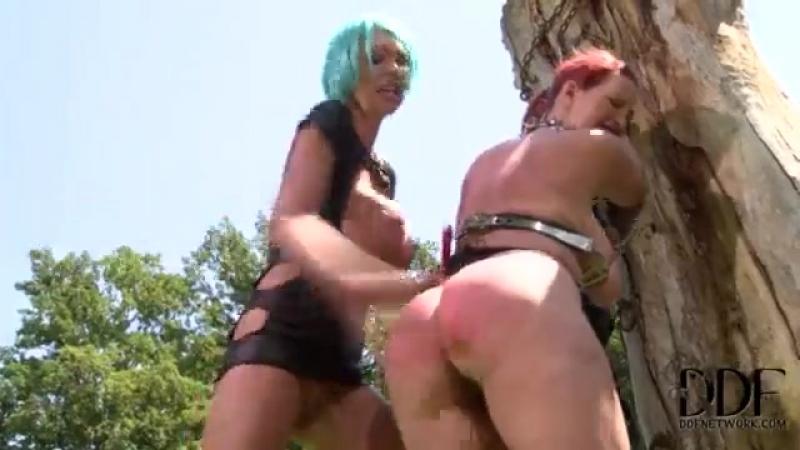 Mistress Flogs Subs 34DD Tits Spanks Her Ass Outdoors