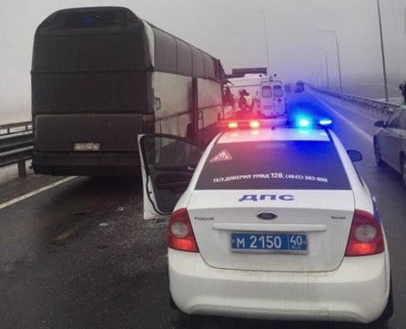 Натрассе М-3 вКалужской области пассажирский автобус столкнулся с фургоном