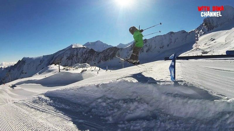 Экстрим в Альпах Ребенок на горных лыжах преодолевает трамплины EPIC SNOW FAMILY CRAZY RIDE