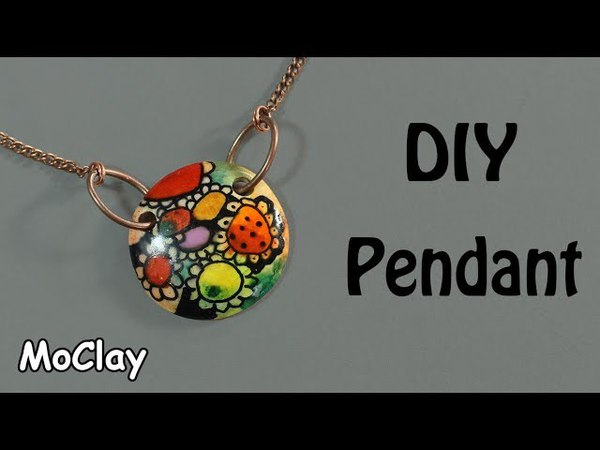 DIY Pendant - Colored alcohol inks - Polymer clay tutorial