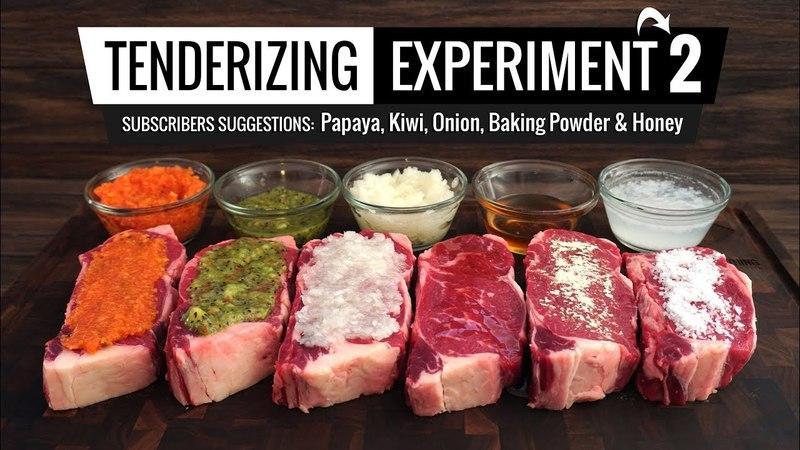Best methods to TENDERIZE STEAK tested! Papaya, Kiwi, Baking Powder, Onion Honey!