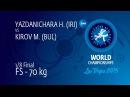 1/8 FS - 70 kg: H. YAZDANICHARA (IRI) df. M. KIROV (BUL) by FALL, 6-1