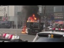 NYPD Truck Catches Fire In Columbus Circle