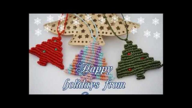 Macrame necklace tutorial | DIY Macrame Jewelry | Easy Christmas tree macrame necklace
