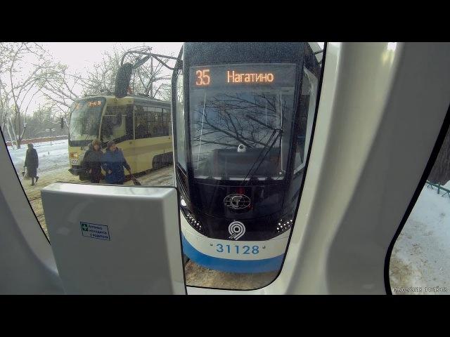 Трамвай Витязь-М, маршрут 35, Новоконная площадь - Нагатино, вид сзади. 9.02.2018
