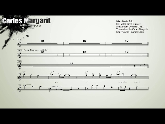 Bags GrooveMilt Jackson. Miles Davis (Bb) Solo. Transcribed by Carles Margarit