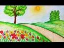 How to draw garden scenery.Step by stepeasy draw