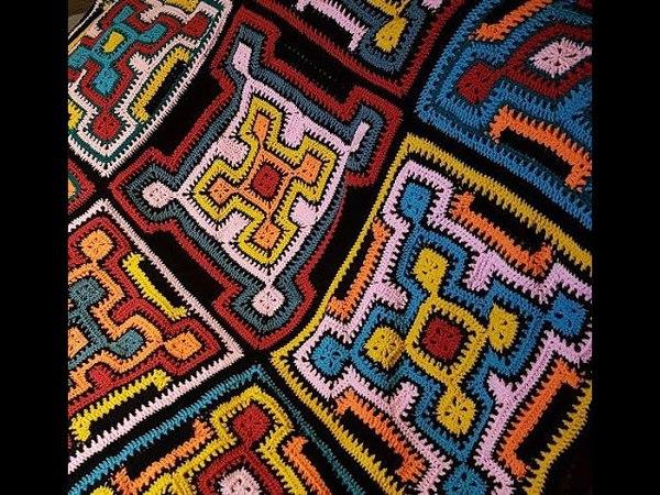 Square and Ripple Blanket häkeln Granny Square Decke Anleitung DIY