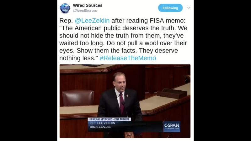 Rep. Lee Zeldin after reading FISA memo: The American public deserves the truth. We should not hide the truth from them, they'v