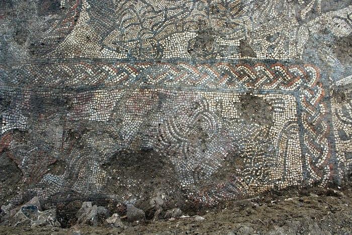 Фрагмент мозаики на полу, вилла в Британии, 4 век