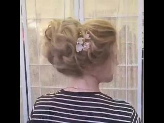 Высокий пучок, красиво собранные волосы