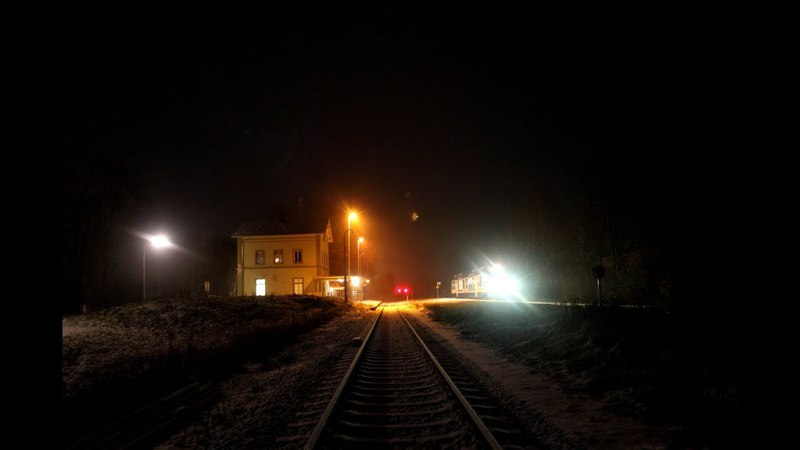 Train Driver's View - Cab Ride Railway Line at Time-night and Dawn in Winter Snow X2Speed -