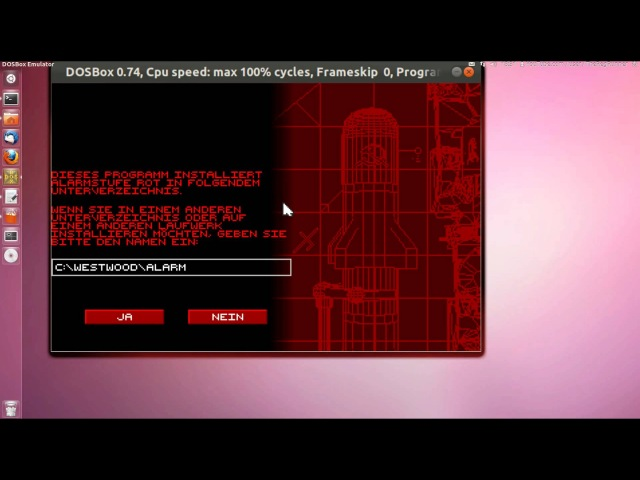 Linux Alarmstufe Rot (1996) in der DOSBox