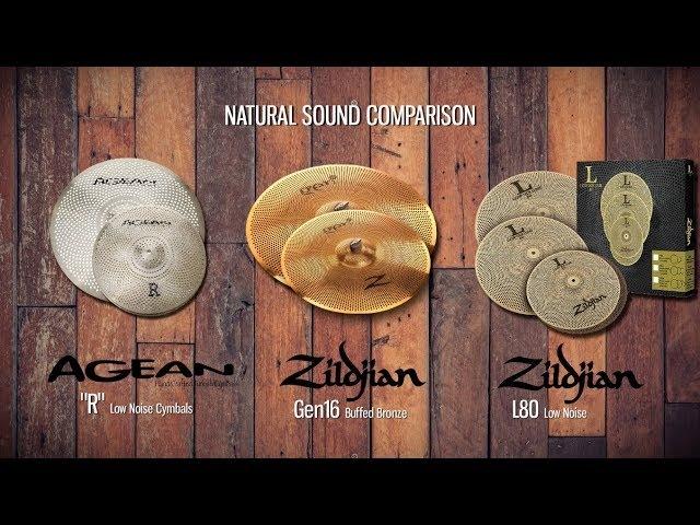 Zildjian Gen16 vs L80 vs Agean Low Noise Cymbals natural sound comparison