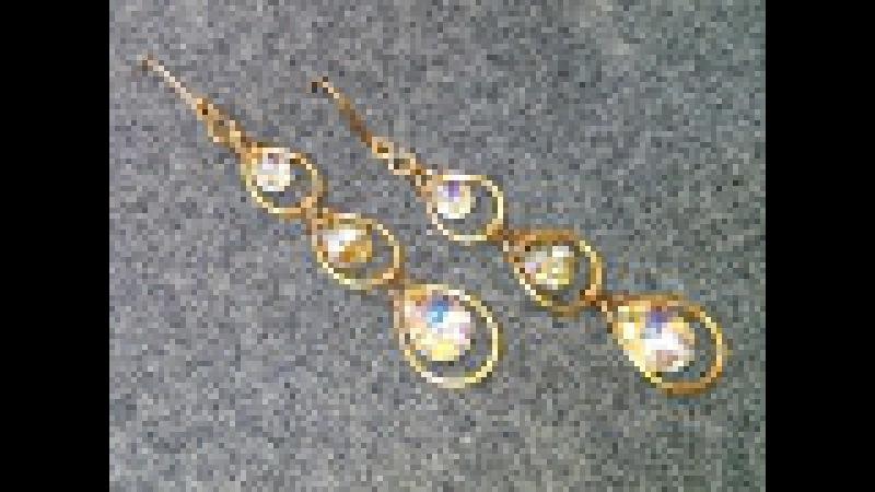 Peacock feathers earrings - Hướng dẫn làm bông tai hình lông công và pha lê hình giọt nước 214
