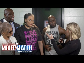 Nia Jax seeks help from above after being paired with Apollo Crews in Mixed Match Challenge