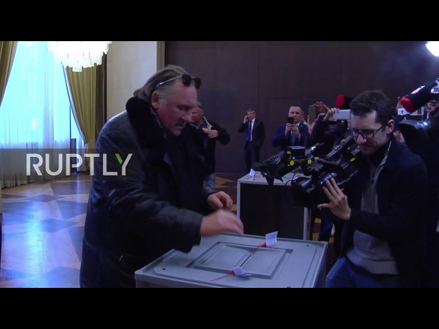 France: Gerard Depardieu (French actor) casts vote in Russian presidential elections