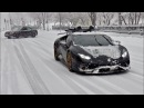 Huracan Performante Drifting in Snow Storm Snowboarding Behind The Lambo