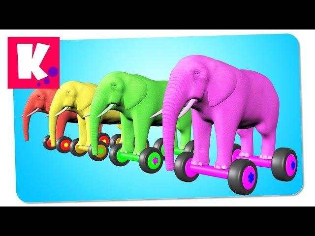Цветные Слоны на Гиробордах Учат с Малышами Новые Цвета | Сборник развивающего видео