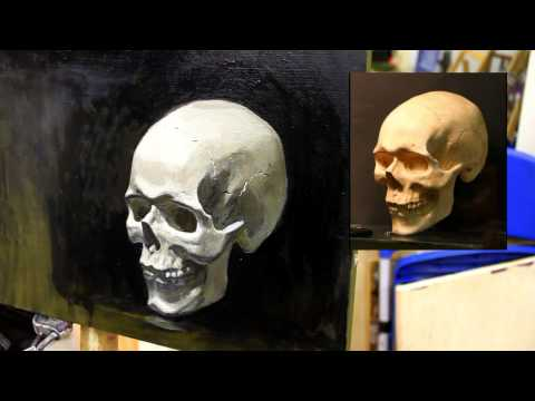 Штудия черепа детализация Обучение живописи Масло Портрет 12 5 серия