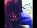 Яркие красно фиолетовые пряди от салонов КРАСОТА profi