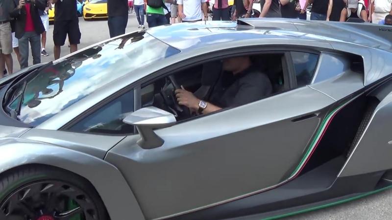 Lamborghini Veneno Driving REVVING BullFest 2017 at Lambo Home Lamborghini Miami