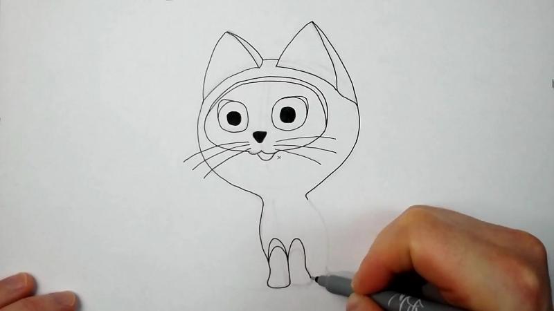Как нарисовать котенка по имени Гав карандашом - Рисование и раскраска для детей