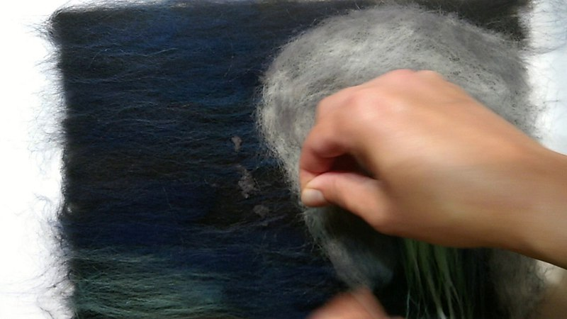 Создание картины из шерсти