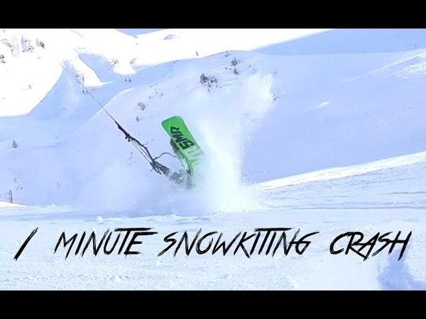 1 minute snowkiting CRASH
