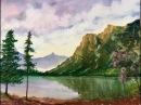 Облачное небо, Горы, Елки акварелью. Cloudy sky, mountains,fir-trees, Watercolour