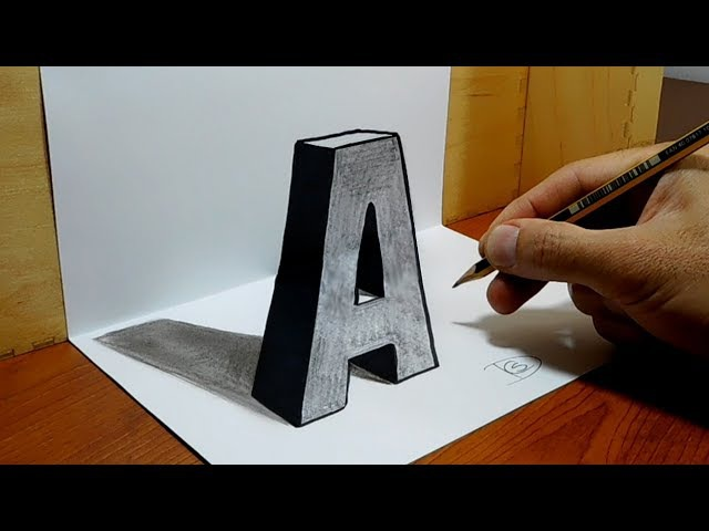 3D Trick Art on Paper, Letter A with Graphite Pencil