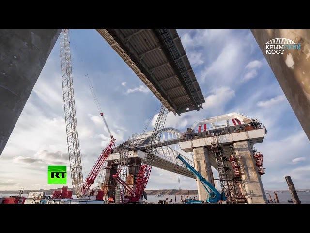 Строители соединили пролёты Крымского моста с арками