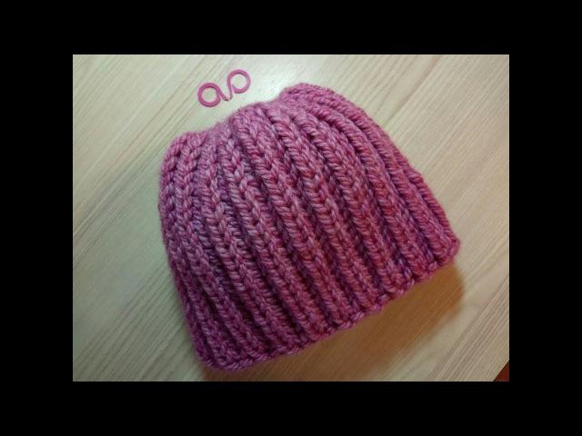 Объемная шапка английской резинкой из толстой пряжи.Два способа закрыть макушку