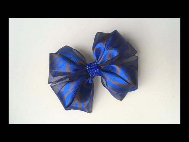Украшение на заколку Канзаши / Синий бант с тигриными полосками из комбинированной ленты