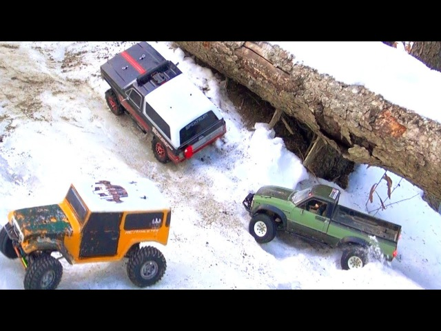 RC ADVENTURES - 4 Guys Wheel Tiny Trucks - iCE RiNK HiLL CLiMB NeverStopPlaying