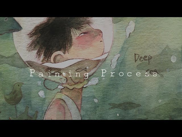 Painting Process:수채화 일러스트/Watercolor illustration deep sea by jiyeon