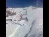 Snowboarder Knocks Skier Off Chairlift