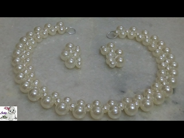 4 How to make Pearl Beaded Necklace Set || Diy || Jewellery Making