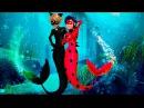 Miraculous Ladybug and cat transform into mermaids Cheatting School Art Class Transform Animation Co