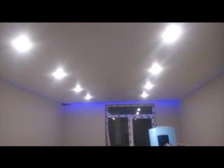 Белый сатиновый натяжной потолок + RGB лента + 10 светильников + пульт управления светом