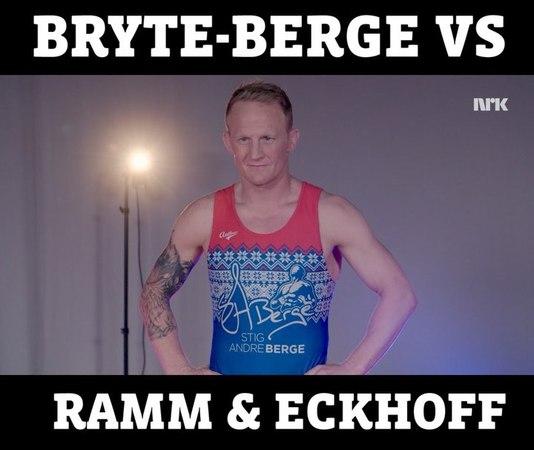 Тириль Экхофф и Стиг Андре Берге (норвежский борец греко-римского стиля) на теле-шоу Николая Рамма «Ramm, Ferdig, Gå!»